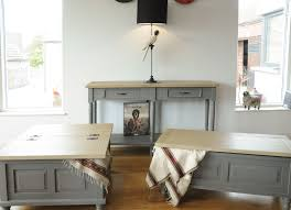 pine shabby chic french storm grey console table