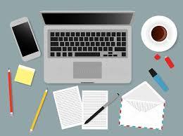 dessus de bureau illustration d écran d ordinateur portable de bureaux des gens d