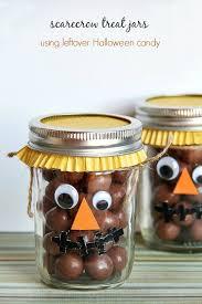 scarecrow treat jars using leftover halloween candy