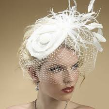 wedding hair using nets sinamay hat feathers french net veil zoom jpg