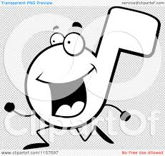 cartoon clipart of a black and white music note running vector