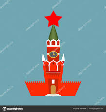 moscow kremlin cartoon style isolated spasskaya tower on red sq
