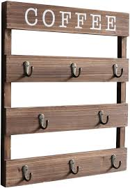 does lowes sell their kitchen displays emaison coffee mug holder wall mounted rustic wood cup organizer with 8 hooks for home kitchen display storage and collection brown 13 x 17