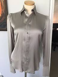 grey silk blouse ralph black label stretch silk charmeuse silver grey blouse