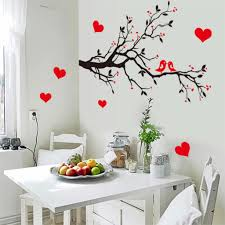 Home Decor Birds by Fashion Red Love Heart Wall Decor Vintage Life Tree Wall Sticker