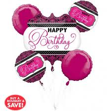 helium balloon delivery in selangor anagram pink black white birthday balloon bouquet 5pcs from