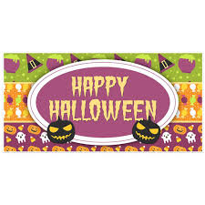 halloween banners orange creepy monster halloween party banner backdrop decoration