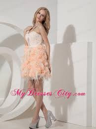 mini length organza and lace flowers prom dress in peach color