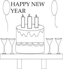 new year cake coloring printable page for kids