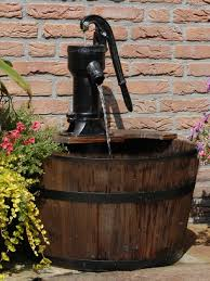 water features newcastle wooden barrel with pump garden water feature water