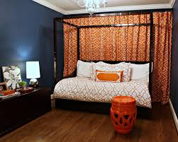 Canopy Bed Curtains Queen Bedroom Interactive Picture Blue Orange Cool Spare Room
