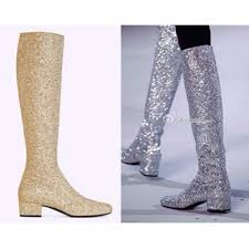 s boots with bling shoes knee high boots flat heels gold sliver