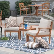 Deep Seating Patio Furniture Sets - belham living brighton outdoor wood deep seating chat set hayneedle