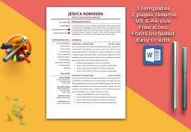 Functional Resume Template Resume Template 1 U0026 2 Pages Cv Template Professional Resume