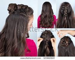 step by step twist hairstyles modern hairstyle twisted bun braid curly stock photo 523882822