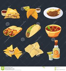 cartoon tequila different mexican foods in cartoon style traditional cuisine