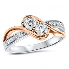 double engagement rings images Double diamond white and rose gold swirl ring by twogether jpg