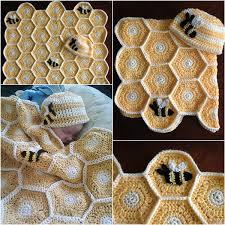 diy blanket diy handmade sweet as honey crochet baby blanket and hat set
