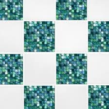 green blue mosaic tile transfers 4 x 4 printed