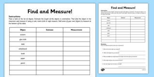 find and measure classroom objects activity sheet measurement