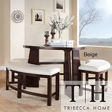 triangle dining room table amazon com dining set 4 piece contemporary triangle shaped wood
