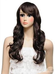wigs for square faces wholesale scroll fluffy wig wig long curly hair wig oblique bangs