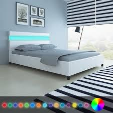 set de chambre bois massif ikayaa blanc lit moderne conception artificielle en cuir en bois