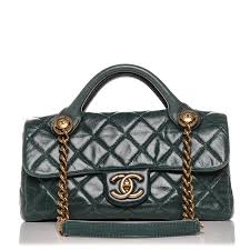 chanel glazed calfskin quilted small castle rock flap green 188228