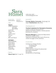 Two Column Resume Assignment 5 U2013 Sara Humel