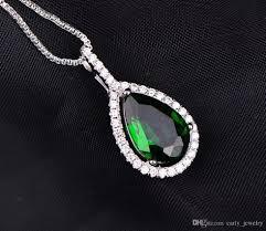 heart shaped emerald necklace images Wholesale green verdelite emerald necklace pendants 925 silver jpg