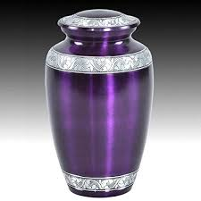 urn ashes mulberry with silver band cremation urn for human ashes