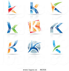 royalty free clip vector logos of colorful letter k designs by