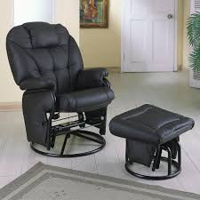 furniture awesome black leather modern recliners with black metal