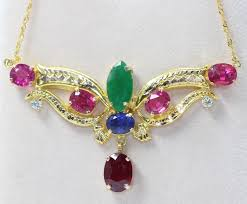 diamonds gold necklace images 18 kt gold necklace with ruby emerald sapphire tourmaline and jpg