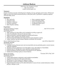 awesome collection of sample resume for warehouse position with