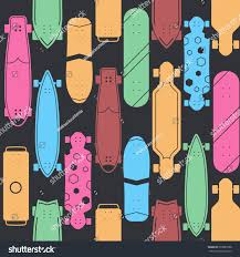 Skateboard Pattern Vector Various Skate Decks Stock Vector