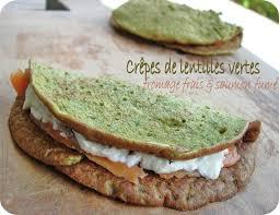 cuisiner les lentilles vertes crêpe de lentilles vertes fromage frais saumon fumé cuisine et