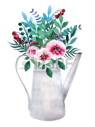 watercolor bouquets of flowers in pot rustic floral set in shabby