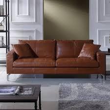 Plush Leather Sofas by Orren Ellis Nyyear Mid Century Modern Plush Top Grain Leather Sofa