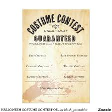 halloween costume contest official ballot 5x7 paper invitation