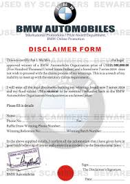 bmw form fraud fyi lottery scam email with disclaimer from bmw