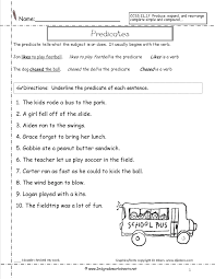Math Worksheets For First Grade Subject Predicate Worksheets For First Grade Mambomusic Us