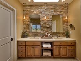 interior glass double doors bathroom stone wall tiles double white bowl sink mix grey wood