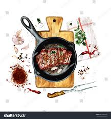 ribs frying pan watercolor illustration stock illustration
