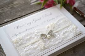 vintage wedding guest book luxury ivory beaded lace and vintage bow personalised wedding
