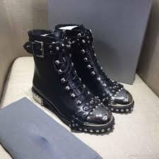 womens motorbike boots 2018 studded boots ankle boots european and american trendsetter