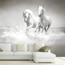 custom photo wallpaper for walls 3 d white horse large mural see larger image