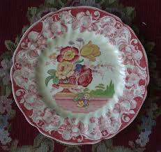 Pomeroy Home Decor Vintage Red Transferware Polychrome Plate Royal Doulton Pomeroy Urn Wi