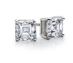 diamond stud earings asscher diamond stud earrings in 14k white gold 1 ct tw blue