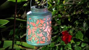 compass home antique floral design solar lantern w color changing